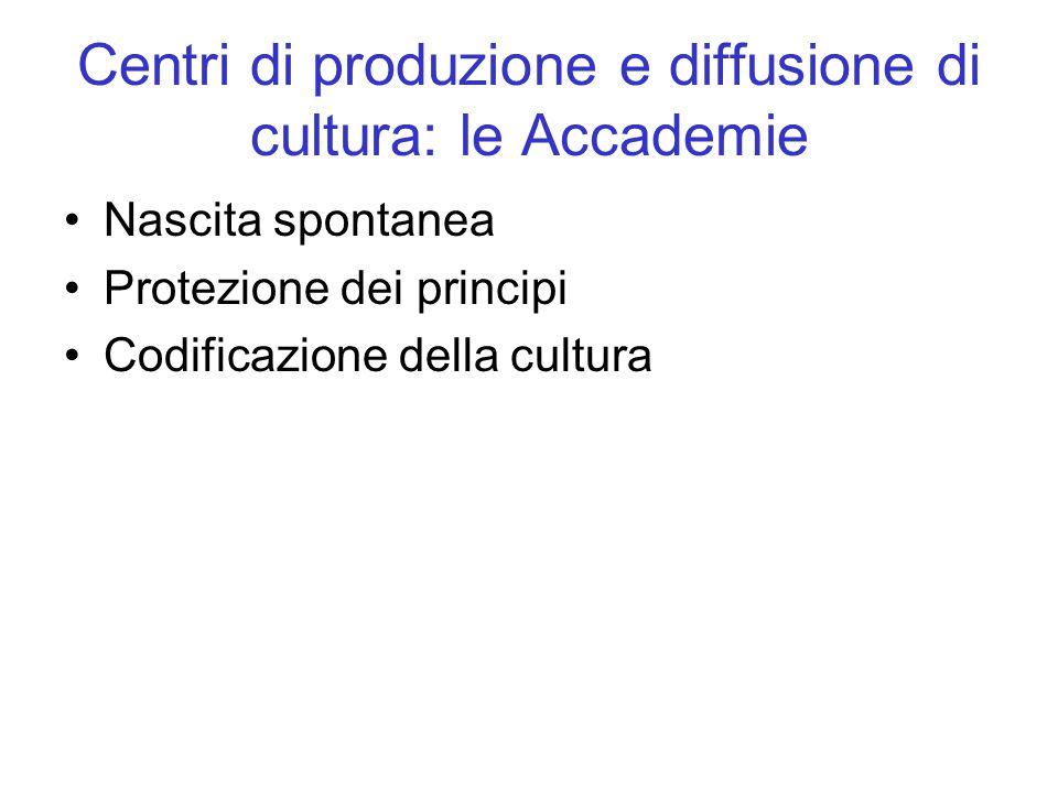 Centri di produzione e diffusione di cultura: le Accademie Nascita spontanea Protezione dei principi Codificazione della cultura