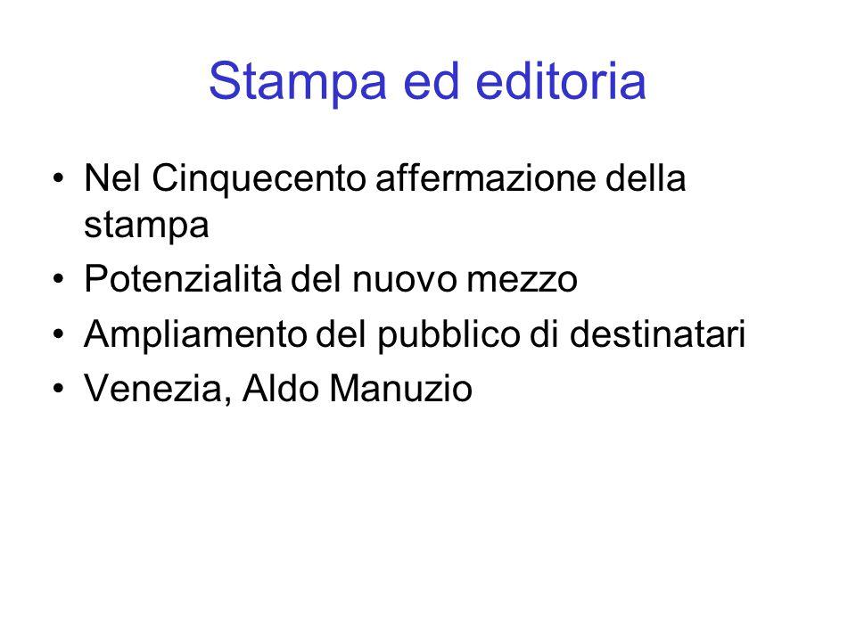 Stampa ed editoria Nel Cinquecento affermazione della stampa Potenzialità del nuovo mezzo Ampliamento del pubblico di destinatari Venezia, Aldo Manuzio
