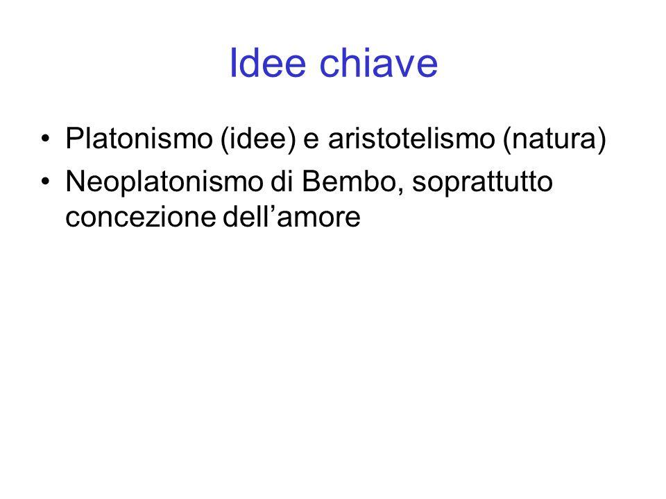 Idee chiave Platonismo (idee) e aristotelismo (natura) Neoplatonismo di Bembo, soprattutto concezione dell'amore