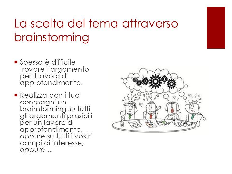 La scelta del tema attraverso un La scelta del tema attraverso brainstorming  Spesso è difficile trovare l'argomento per il lavoro di approfondimento