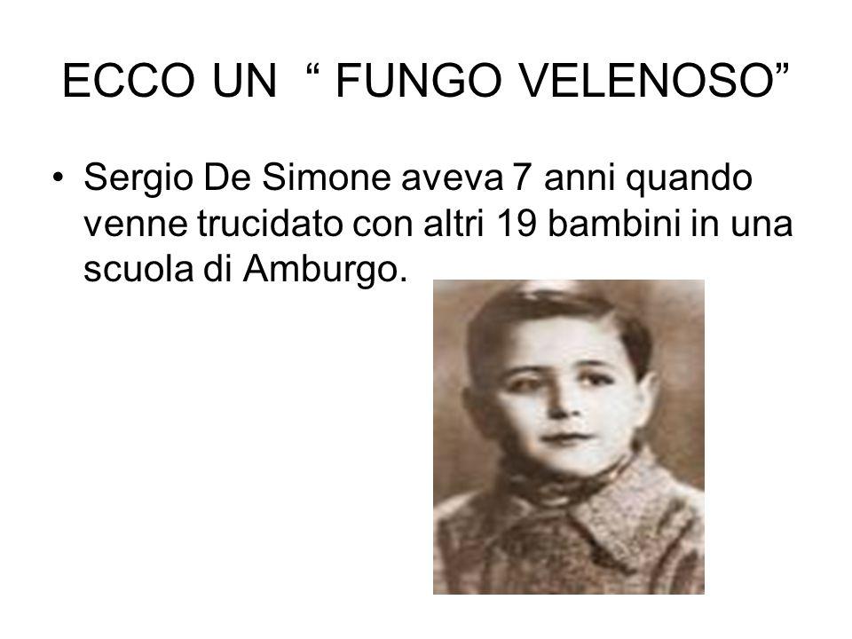 """ECCO UN """" FUNGO VELENOSO"""" Sergio De Simone aveva 7 anni quando venne trucidato con altri 19 bambini in una scuola di Amburgo."""