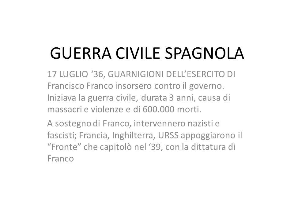 GUERRA CIVILE SPAGNOLA 17 LUGLIO '36, GUARNIGIONI DELL'ESERCITO DI Francisco Franco insorsero contro il governo.