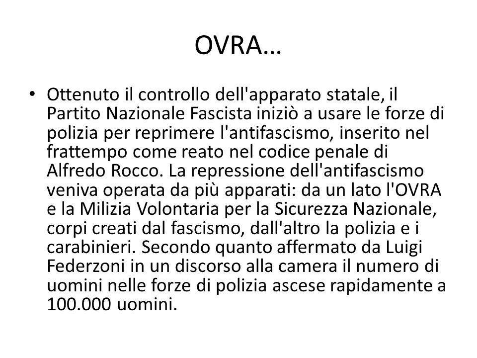 OVRA… Ottenuto il controllo dell apparato statale, il Partito Nazionale Fascista iniziò a usare le forze di polizia per reprimere l antifascismo, inserito nel frattempo come reato nel codice penale di Alfredo Rocco.