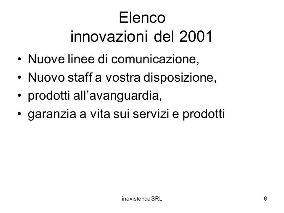 inexistence SRL6 Elenco innovazioni del 2001 Nuove linee di comunicazione, Nuovo staff a vostra disposizione, prodotti all'avanguardia, garanzia a vita sui servizi e prodotti