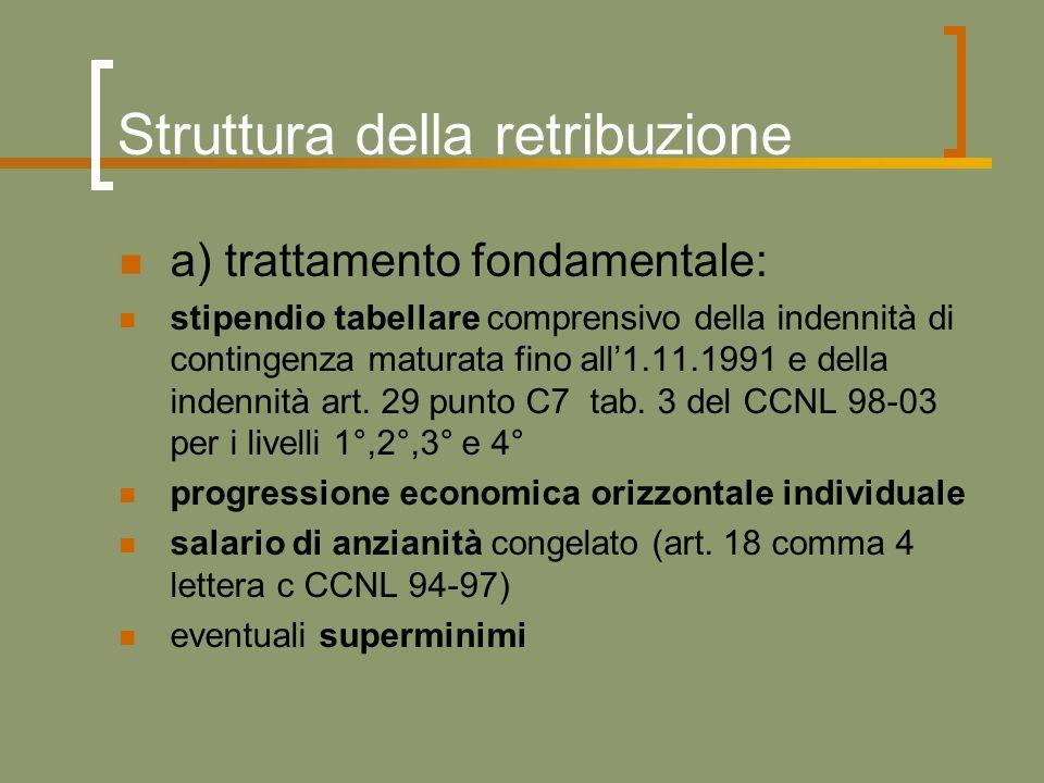 Struttura della retribuzione a) trattamento fondamentale: stipendio tabellare comprensivo della indennità di contingenza maturata fino all'1.11.1991 e della indennità art.