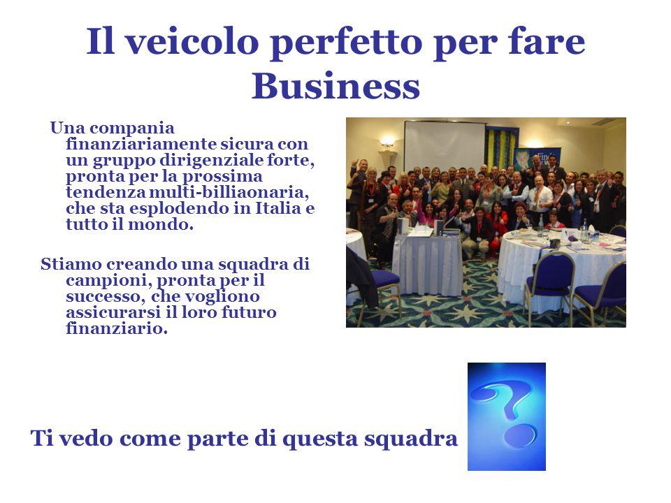 Il veicolo perfetto per fare Business Una compania finanziariamente sicura con un gruppo dirigenziale forte, pronta per la prossima tendenza multi-billiaonaria, che sta esplodendo in Italia e tutto il mondo.