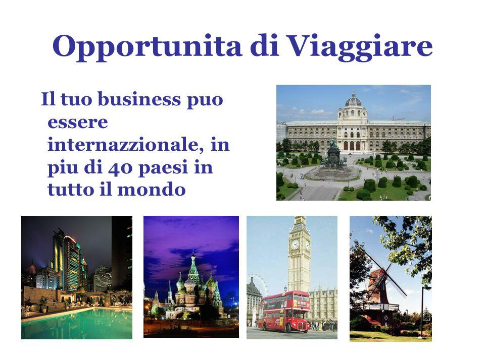 Opportunita di Viaggiare Il tuo business puo essere internazzionale, in piu di 40 paesi in tutto il mondo