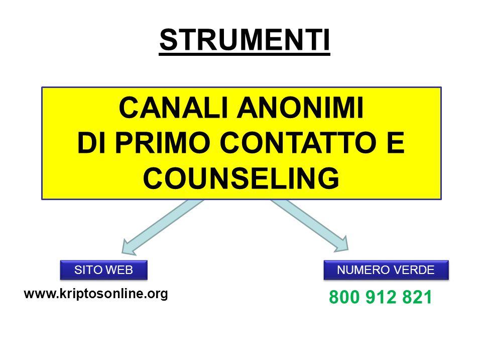 STRUMENTI SITO WEB NUMERO VERDE CANALI ANONIMI DI PRIMO CONTATTO E COUNSELING 800 912 821 www.kriptosonline.org