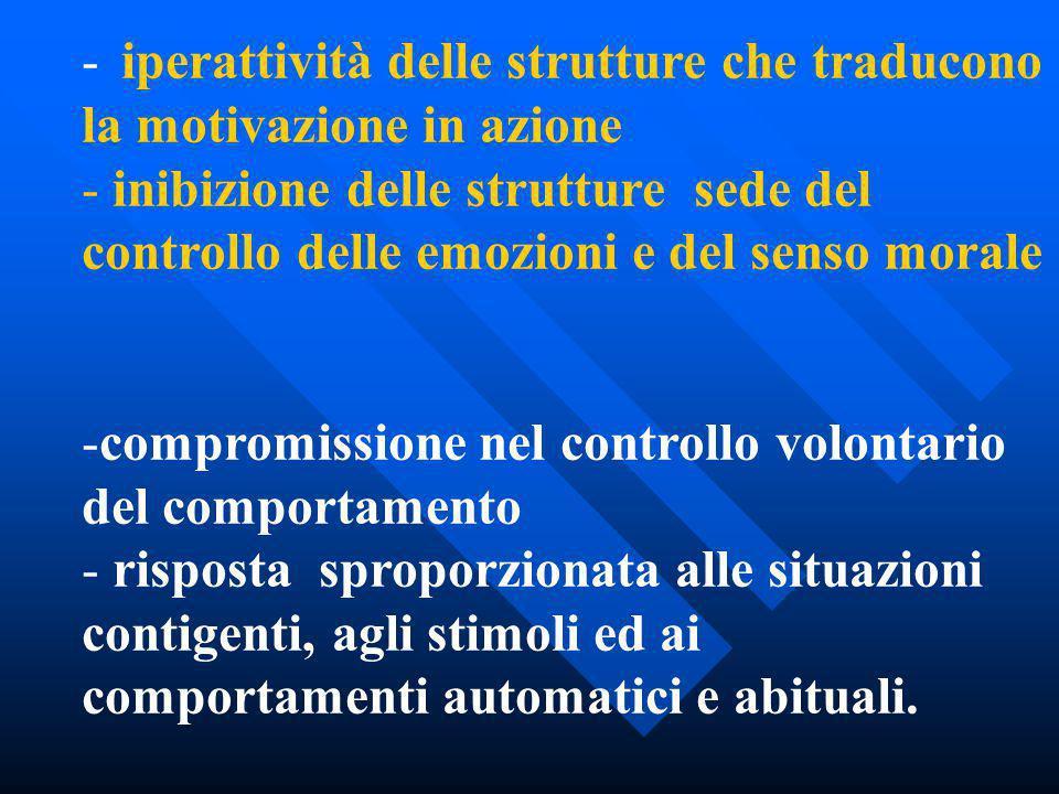 - iperattività delle strutture che traducono la motivazione in azione - inibizione delle strutture sede del controllo delle emozioni e del senso moral