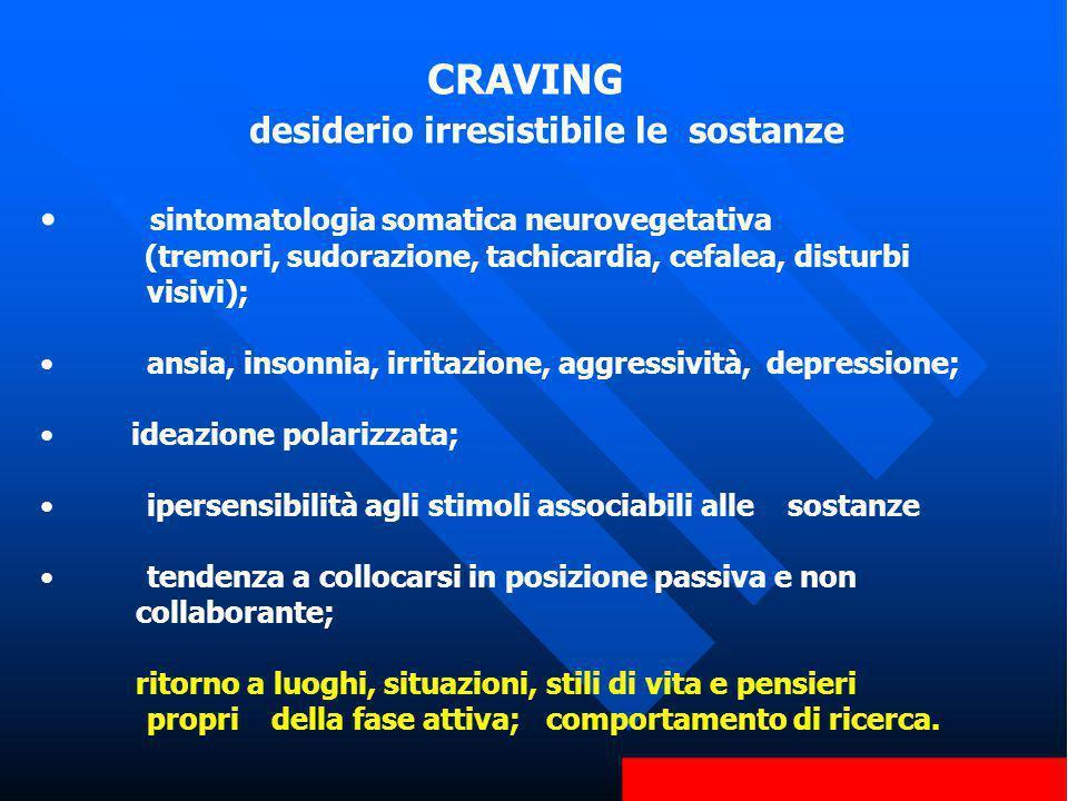 CRAVING desiderio irresistibile le sostanze sintomatologia somatica neurovegetativa (tremori, sudorazione, tachicardia, cefalea, disturbi visivi); ans