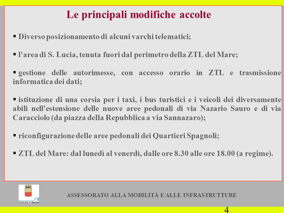 ASSESSORATO ALLA MOBILITÀ E ALLE INFRASTRUTTURE 4 Le principali modifiche accolte  Diverso posizionamento di alcuni varchi telematici;  l area di S.