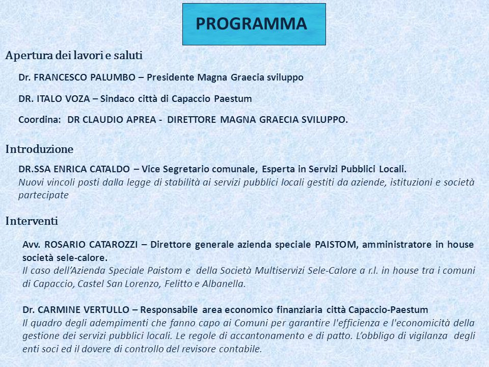 Dr. FRANCESCO PALUMBO – Presidente Magna Graecia sviluppo DR.