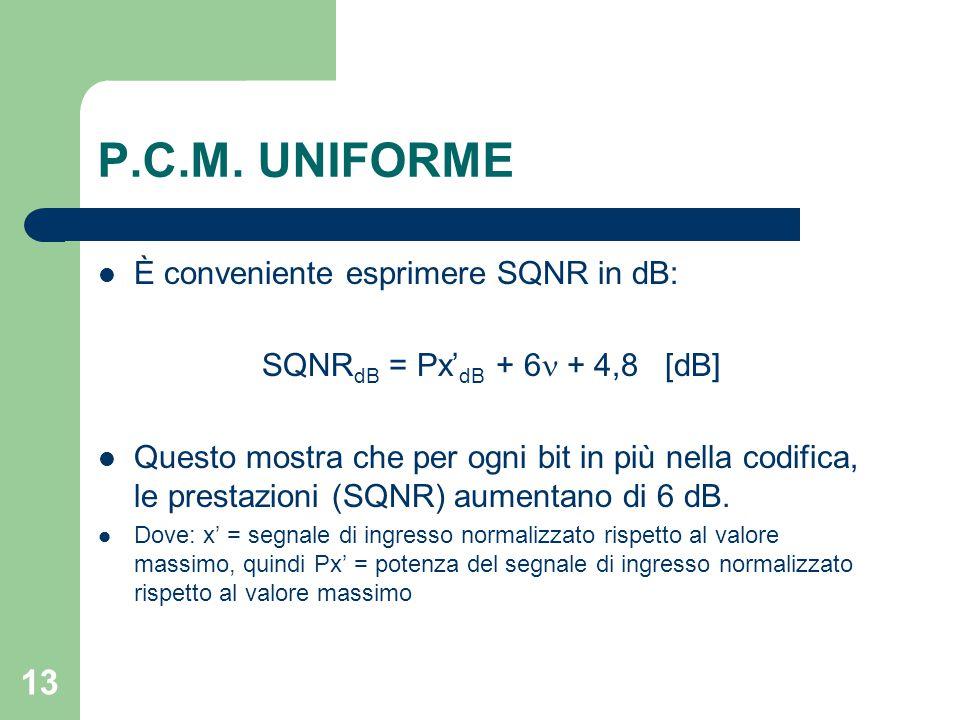 13 P.C.M. UNIFORME È conveniente esprimere SQNR in dB: SQNR dB = Px' dB + 6 + 4,8 [dB] Questo mostra che per ogni bit in più nella codifica, le presta