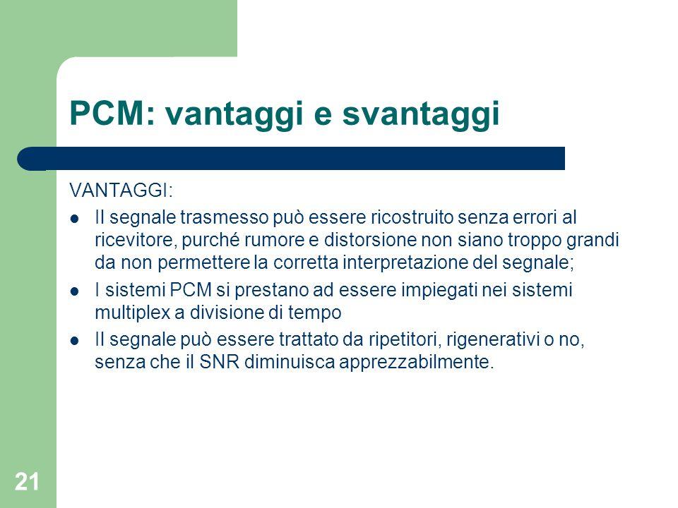 21 PCM: vantaggi e svantaggi VANTAGGI: Il segnale trasmesso può essere ricostruito senza errori al ricevitore, purché rumore e distorsione non siano t