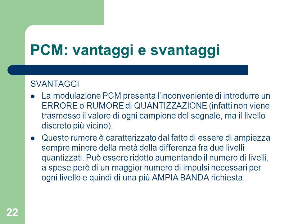 22 PCM: vantaggi e svantaggi SVANTAGGI La modulazione PCM presenta l'inconveniente di introdurre un ERRORE o RUMORE di QUANTIZZAZIONE (infatti non vie