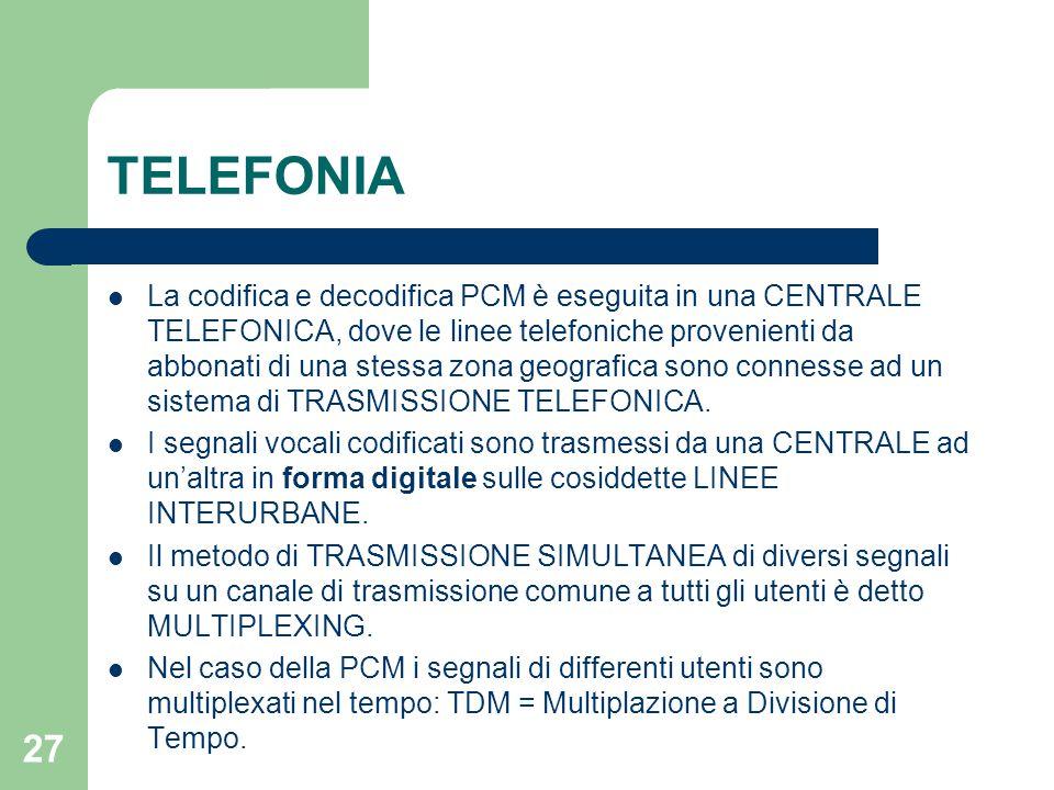 27 TELEFONIA La codifica e decodifica PCM è eseguita in una CENTRALE TELEFONICA, dove le linee telefoniche provenienti da abbonati di una stessa zona
