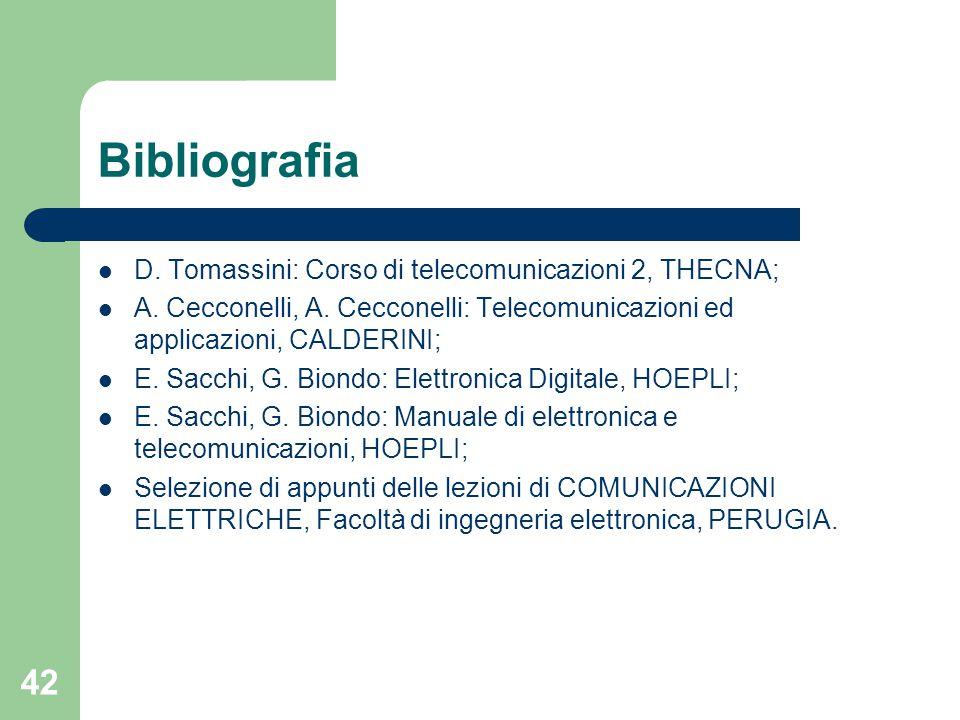 42 Bibliografia D. Tomassini: Corso di telecomunicazioni 2, THECNA; A. Cecconelli, A. Cecconelli: Telecomunicazioni ed applicazioni, CALDERINI; E. Sac