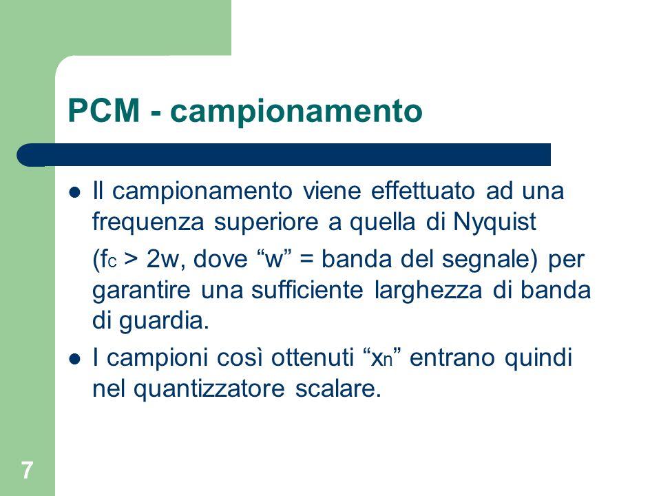 """7 PCM - campionamento Il campionamento viene effettuato ad una frequenza superiore a quella di Nyquist (f c > 2w, dove """"w"""" = banda del segnale) per ga"""