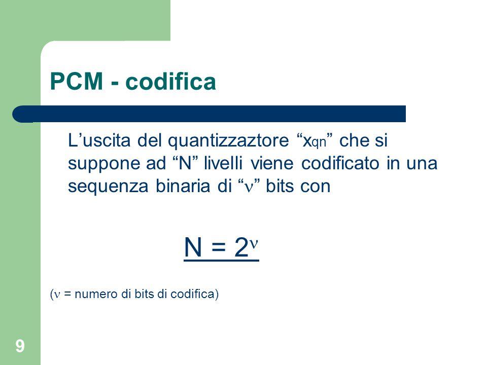 """9 PCM - codifica L'uscita del quantizzaztore """"x qn """" che si suppone ad """"N"""" livelli viene codificato in una sequenza binaria di """" """" bits con N = 2 ( ="""