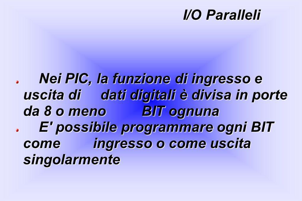 I/O Paralleli Nei PIC, la funzione di ingresso e uscita di dati digitali è divisa in porte da 8 o meno BIT ognuna Nei PIC, la funzione di ingresso e u