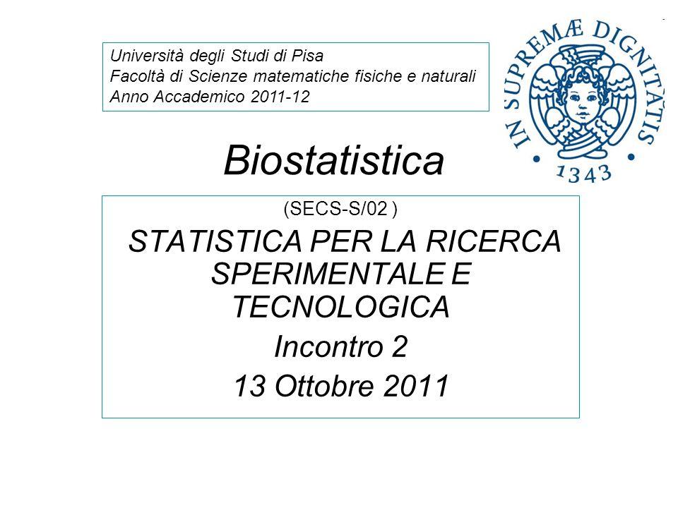 Biostatistica (SECS-S/02 ) STATISTICA PER LA RICERCA SPERIMENTALE E TECNOLOGICA Incontro 2 13 Ottobre 2011 Università degli Studi di Pisa Facoltà di S
