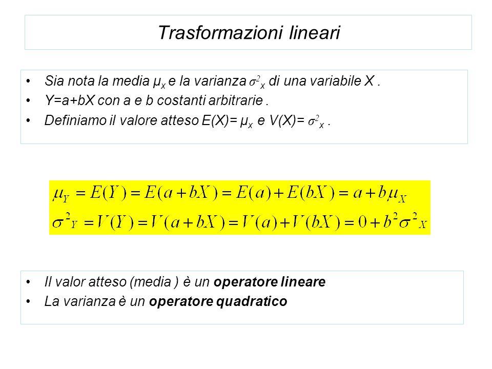 Trasformazioni lineari Sia nota la media μ x e la varianza σ 2 x di una variabile X. Y=a+bX con a e b costanti arbitrarie. Definiamo il valore atteso