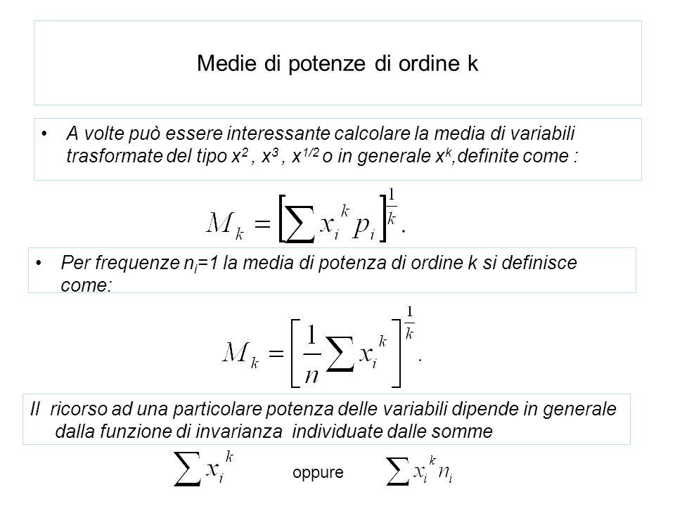 Medie di potenze di ordine k A volte può essere interessante calcolare la media di variabili trasformate del tipo x 2, x 3, x 1/2 o in generale x k,de