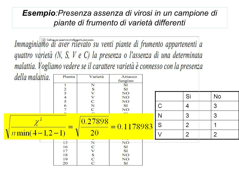 Esempio:Presenza assenza di virosi in un campione di piante di frumento di varietà differenti SiNo C43 N33 S21 V22