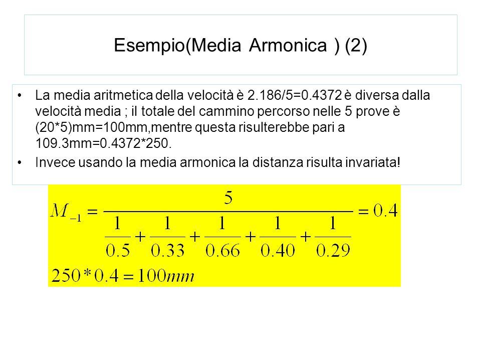 Esempio(Media Armonica ) (2) La media aritmetica della velocità è 2.186/5=0.4372 è diversa dalla velocità media ; il totale del cammino percorso nelle
