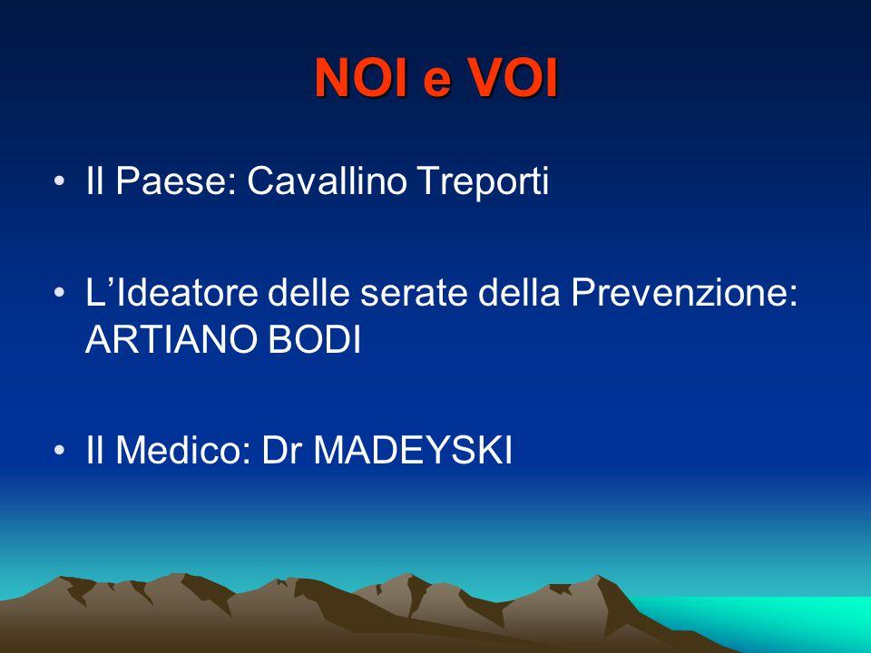 NOI e VOI Il Paese: Cavallino Treporti L'Ideatore delle serate della Prevenzione: ARTIANO BODI Il Medico: Dr MADEYSKI