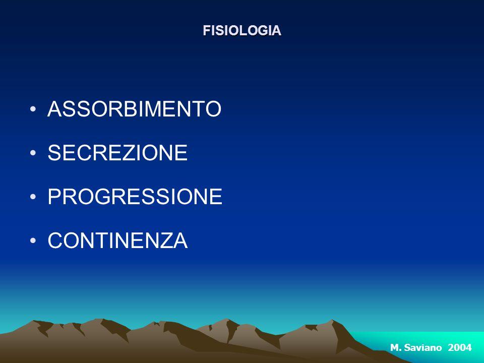 FISIOLOGIA ASSORBIMENTO SECREZIONE PROGRESSIONE CONTINENZA M. Saviano 2004
