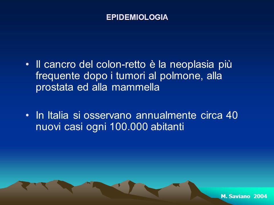 Il cancro del colon-retto è la neoplasia più frequente dopo i tumori al polmone, alla prostata ed alla mammella In Italia si osservano annualmente cir