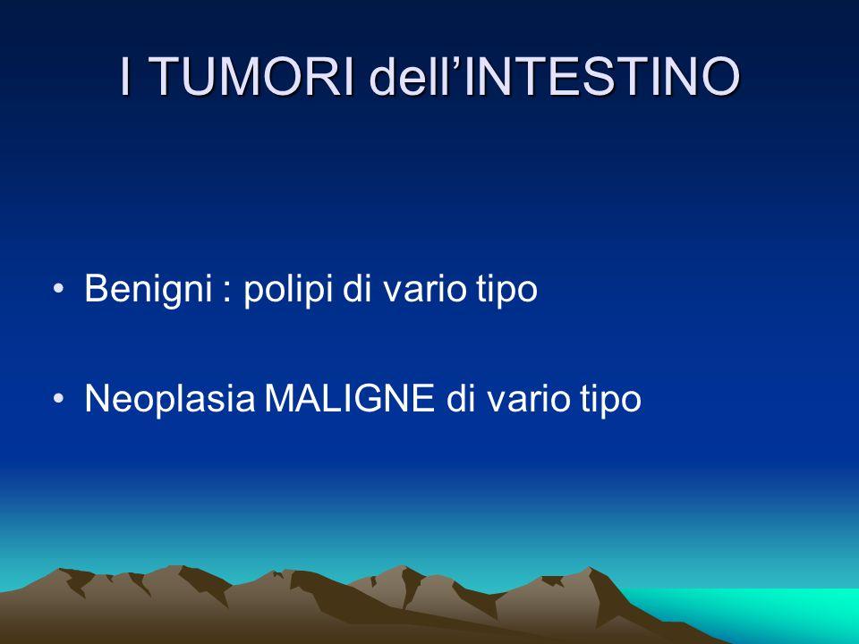 I TUMORI dell'INTESTINO Benigni : polipi di vario tipo Neoplasia MALIGNE di vario tipo