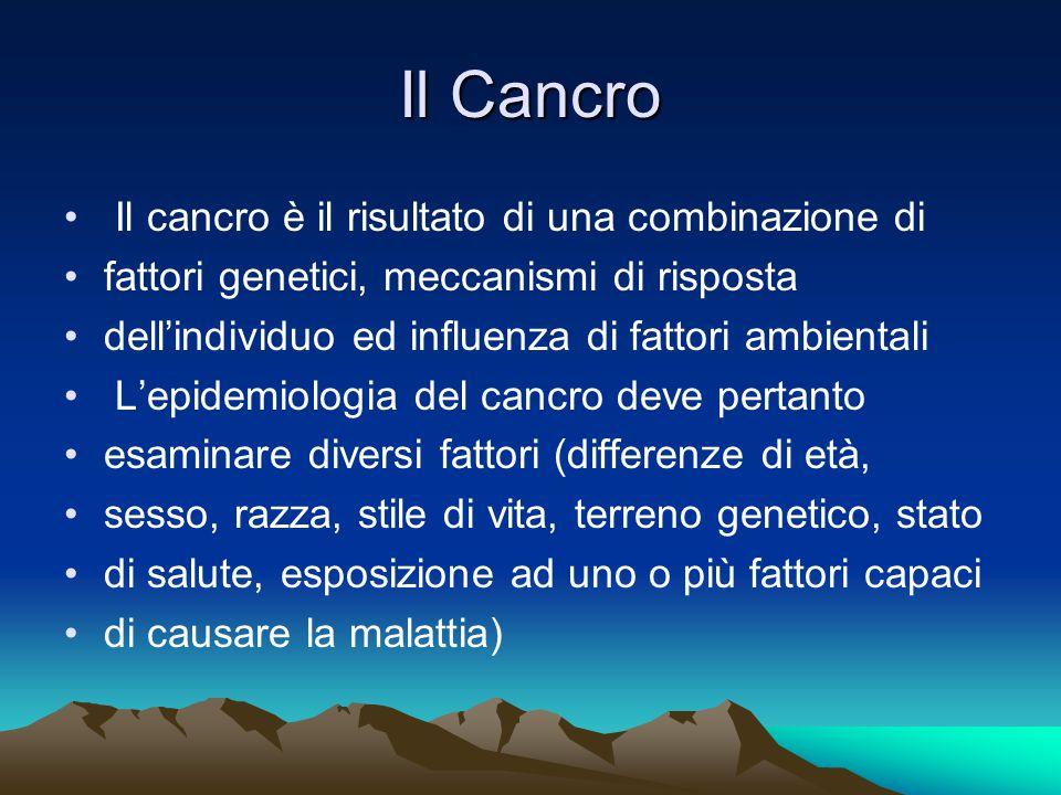 Il Cancro Il cancro è il risultato di una combinazione di fattori genetici, meccanismi di risposta dell'individuo ed influenza di fattori ambientali L