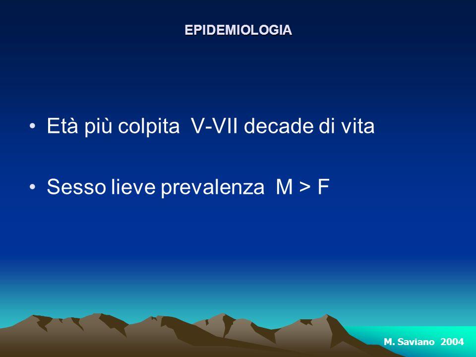 Età più colpita V-VII decade di vita Sesso lieve prevalenza M > FEPIDEMIOLOGIA M. Saviano 2004