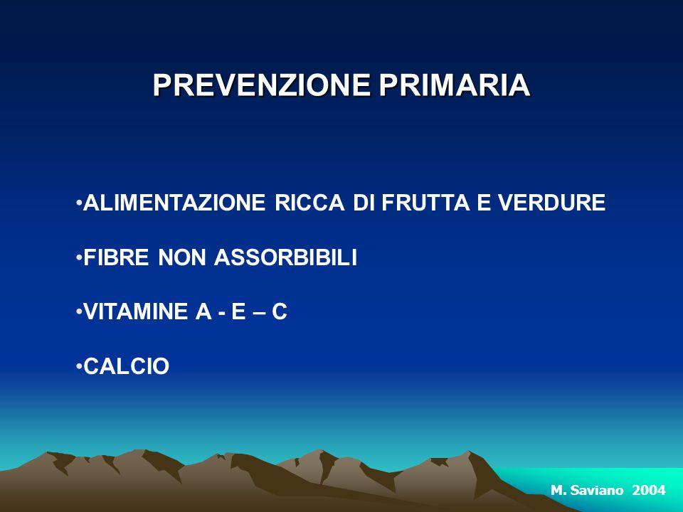 ALIMENTAZIONE RICCA DI FRUTTA E VERDURE FIBRE NON ASSORBIBILI VITAMINE A - E – C CALCIO PREVENZIONE PRIMARIA M. Saviano 2004