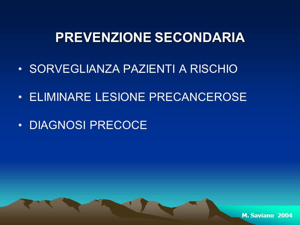 PREVENZIONE SECONDARIA SORVEGLIANZA PAZIENTI A RISCHIO ELIMINARE LESIONE PRECANCEROSE DIAGNOSI PRECOCE M. Saviano 2004