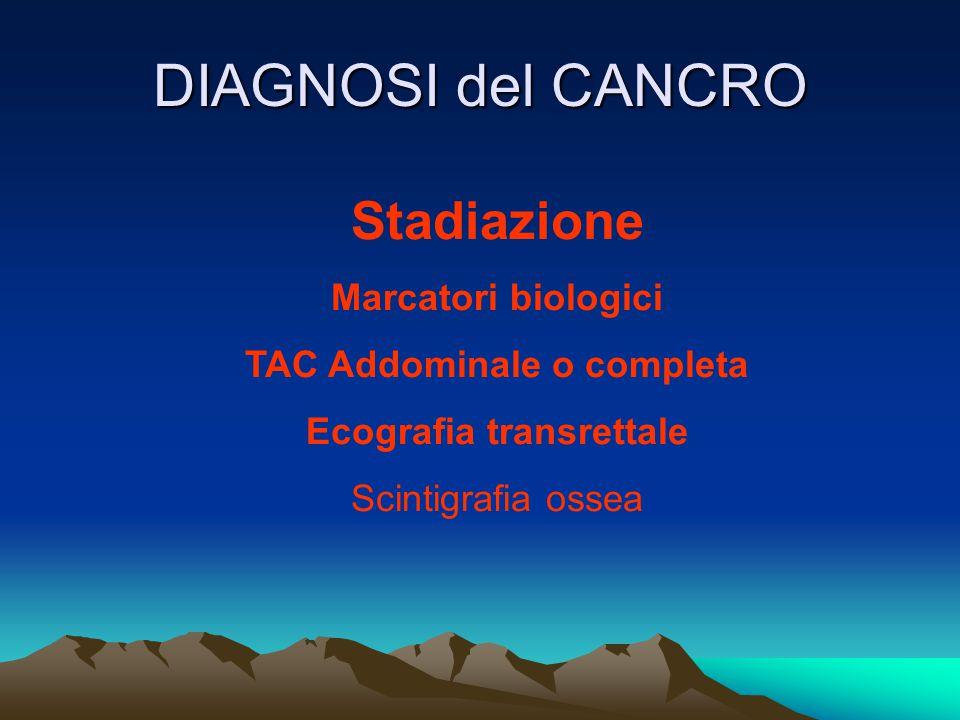 DIAGNOSI del CANCRO Stadiazione Marcatori biologici TAC Addominale o completa Ecografia transrettale Scintigrafia ossea