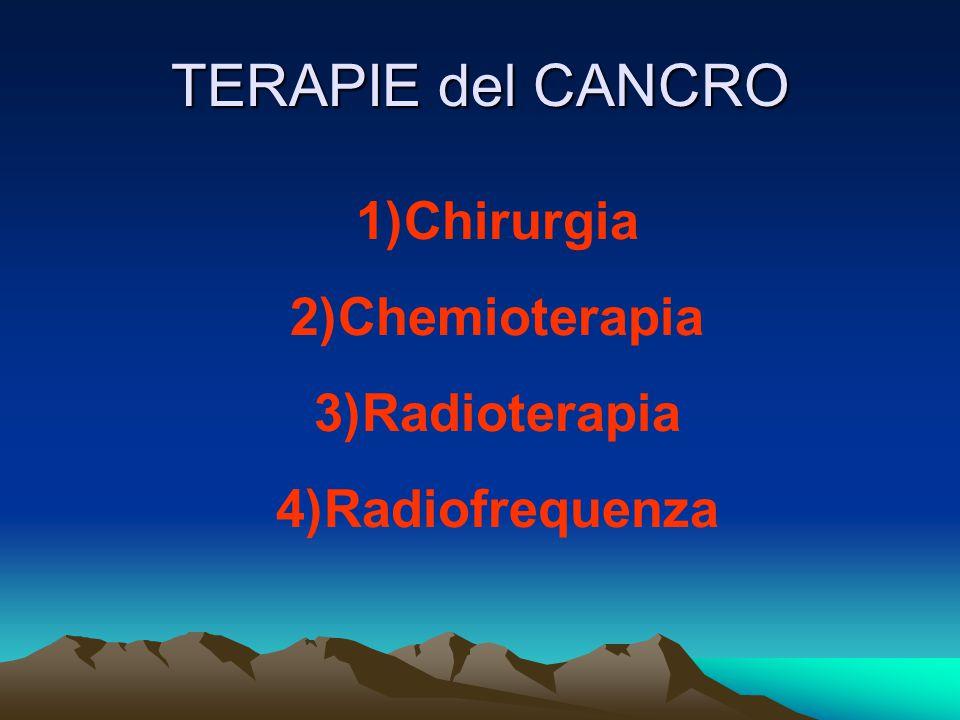TERAPIE del CANCRO 1)Chirurgia 2)Chemioterapia 3)Radioterapia 4)Radiofrequenza