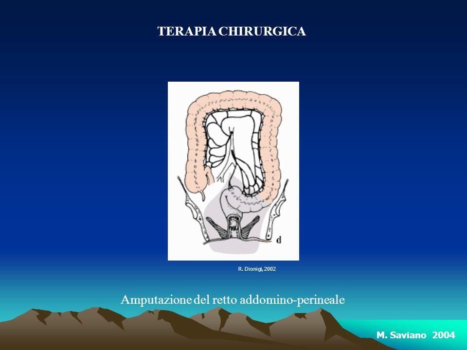 TERAPIA CHIRURGICA Amputazione del retto addomino-perineale R. Dionigi, 2002 M. Saviano 2004