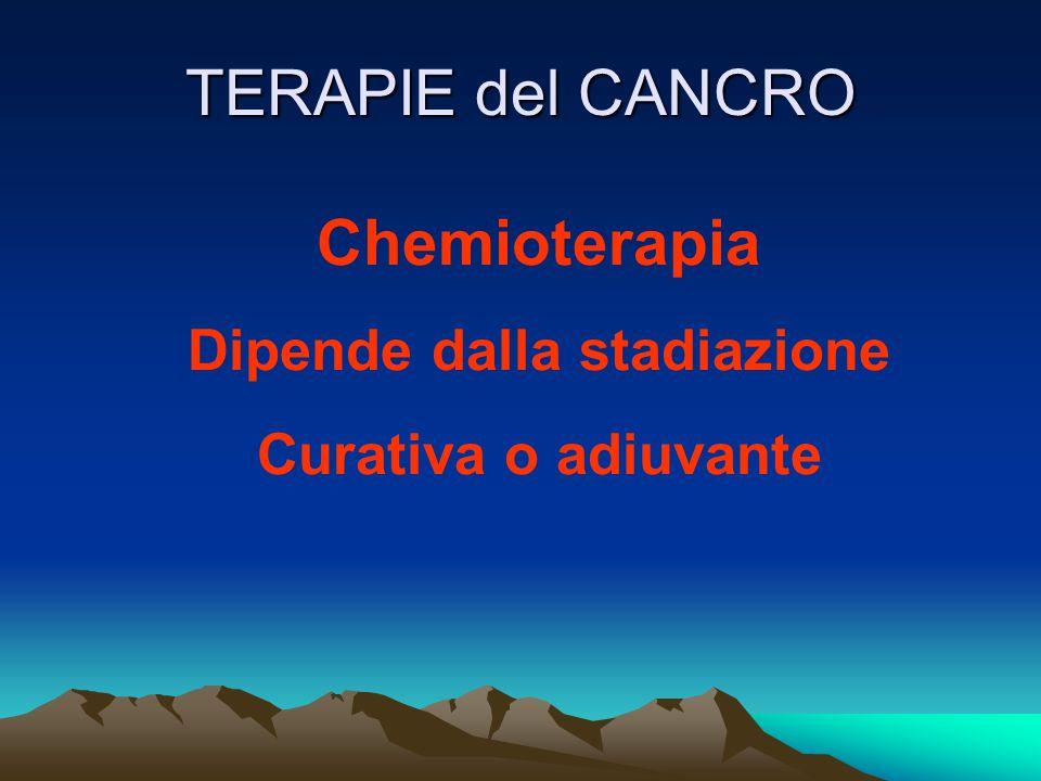 TERAPIE del CANCRO Chemioterapia Dipende dalla stadiazione Curativa o adiuvante