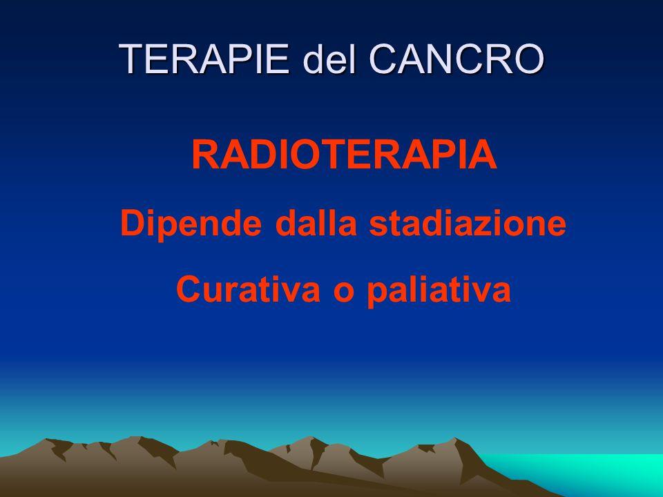 TERAPIE del CANCRO RADIOTERAPIA Dipende dalla stadiazione Curativa o paliativa