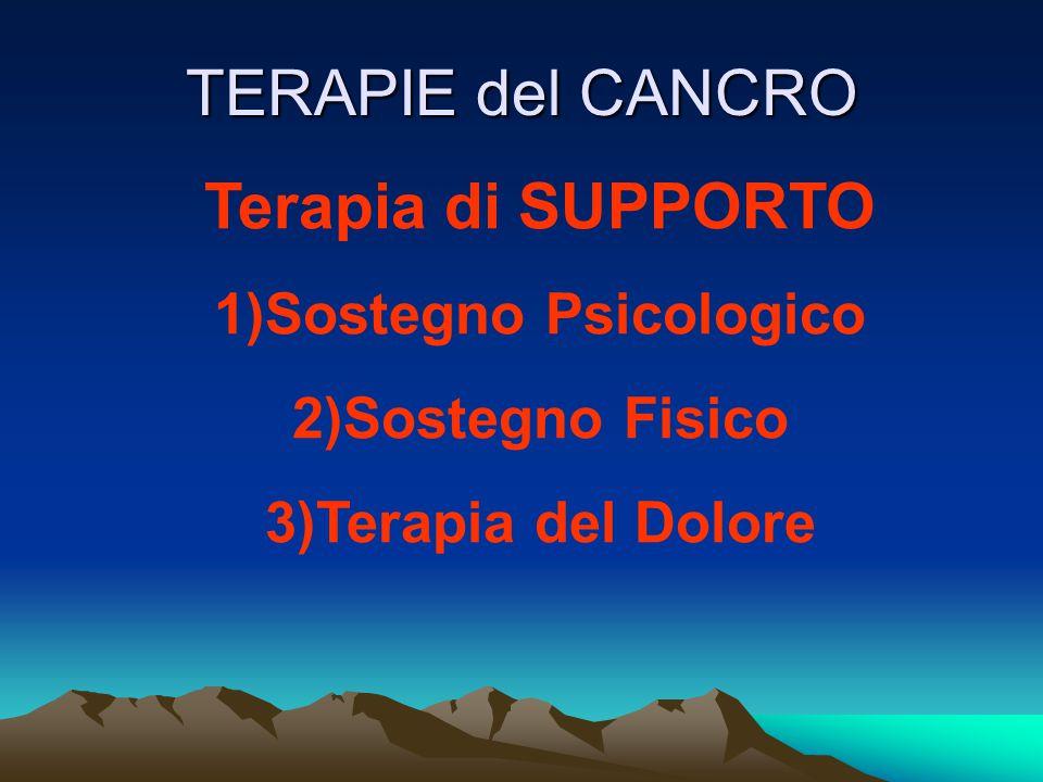 TERAPIE del CANCRO Terapia di SUPPORTO 1)Sostegno Psicologico 2)Sostegno Fisico 3)Terapia del Dolore