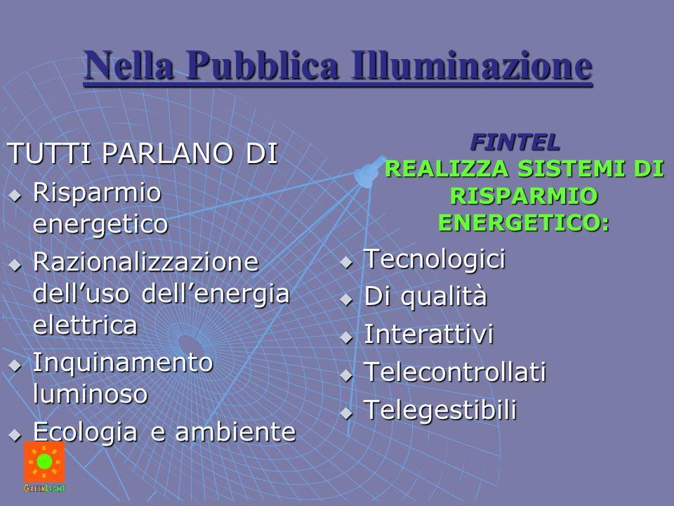 Nella Pubblica Illuminazione TUTTI PARLANO DI  Risparmio energetico  Razionalizzazione dell'uso dell'energia elettrica  Inquinamento luminoso  Eco