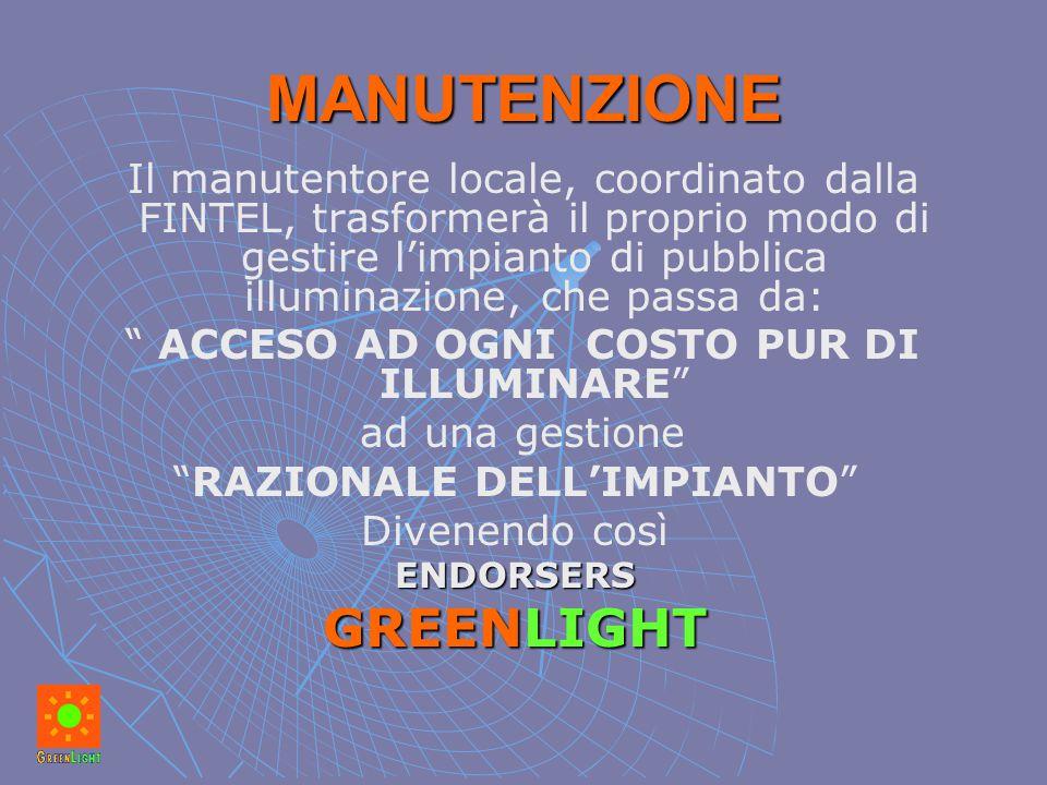 MANUTENZIONE Il manutentore locale, coordinato dalla FINTEL, trasformerà il proprio modo di gestire l'impianto di pubblica illuminazione, che passa da