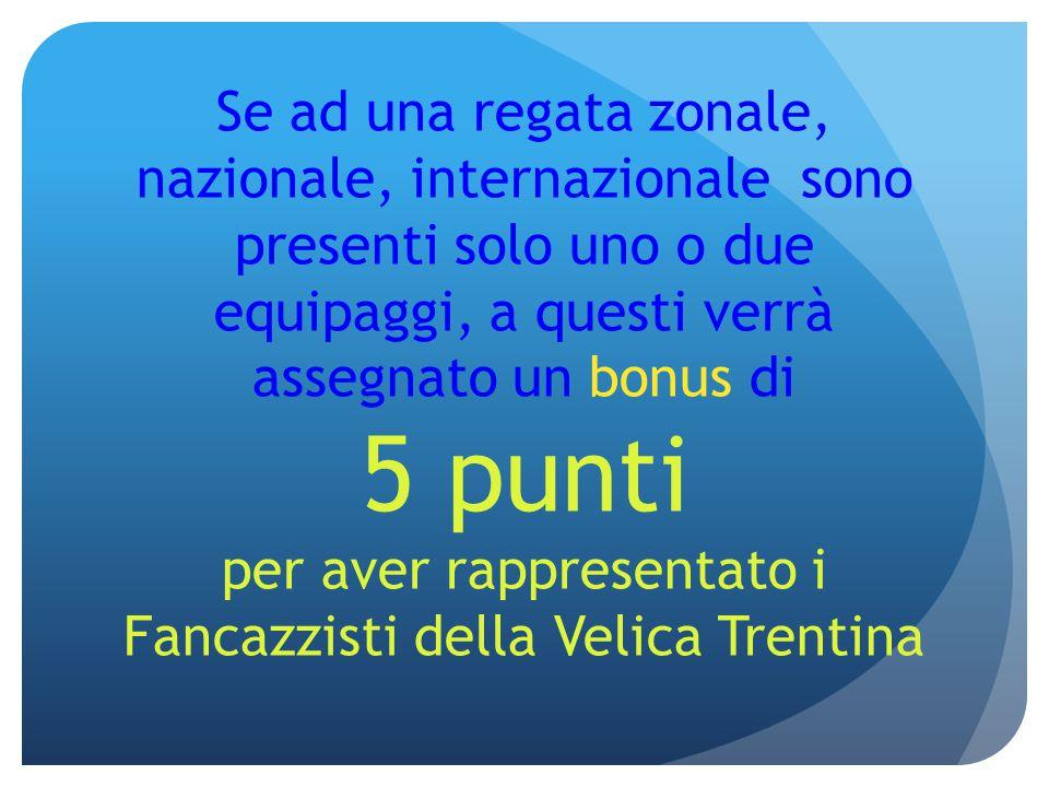 Se ad una regata zonale, nazionale, internazionale sono presenti solo uno o due equipaggi, a questi verrà assegnato un bonus di 5 punti per aver rappr