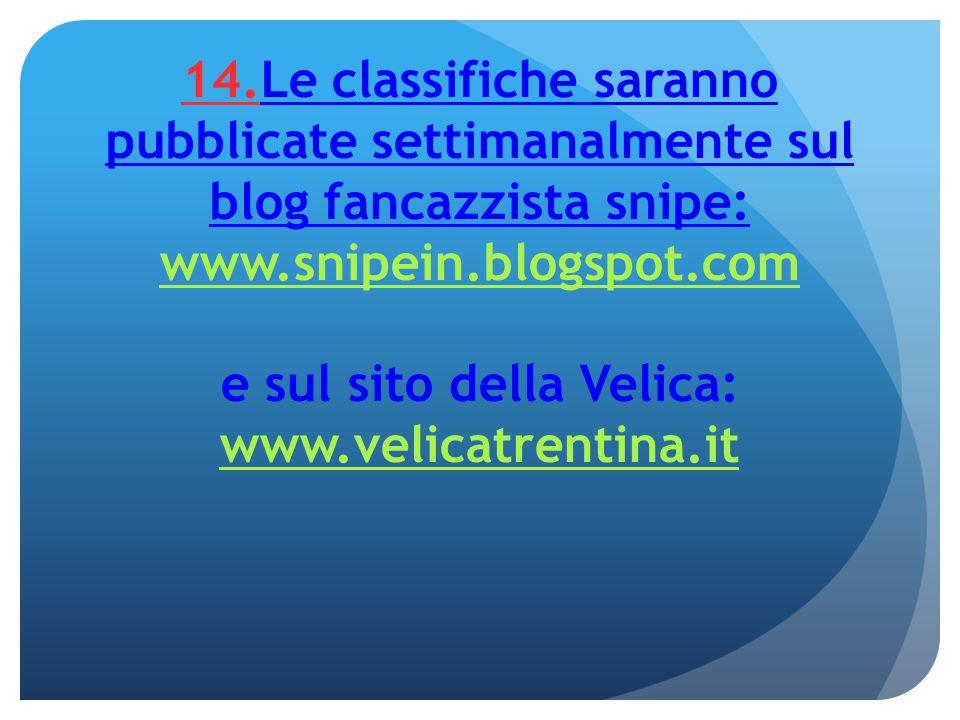 14.Le classifiche saranno pubblicate settimanalmente sul blog fancazzista snipe: www.snipein.blogspot.com e sul sito della Velica: www.velicatrentina.