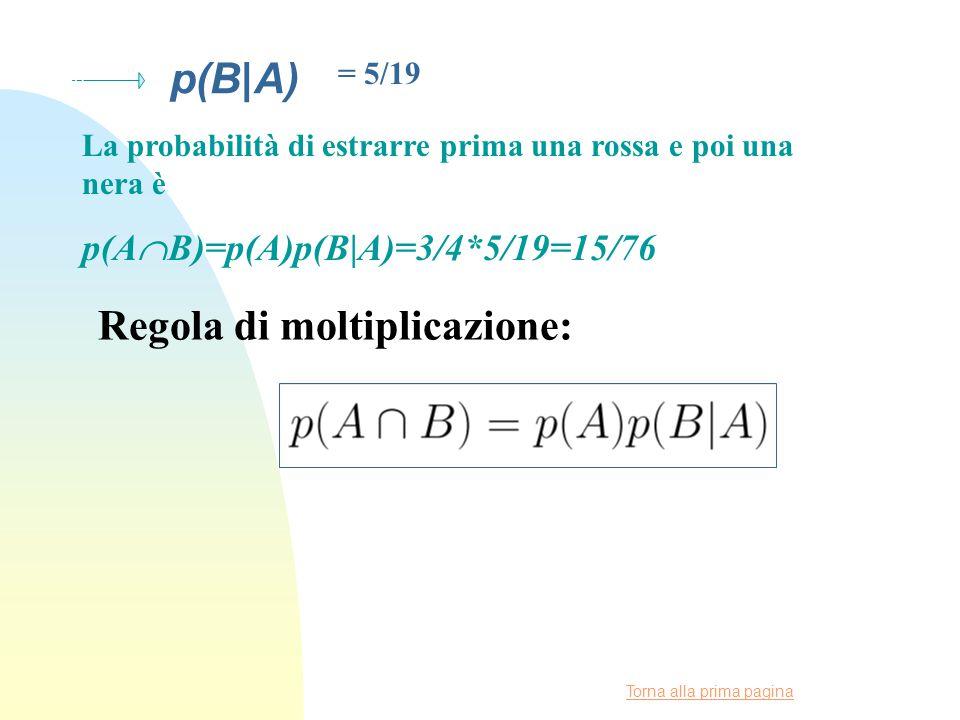 Torna alla prima pagina p(B|A) = 5/19 La probabilità di estrarre prima una rossa e poi una nera è p(A  B)=p(A)p(B|A)=3/4*5/19=15/76 Regola di moltiplicazione: