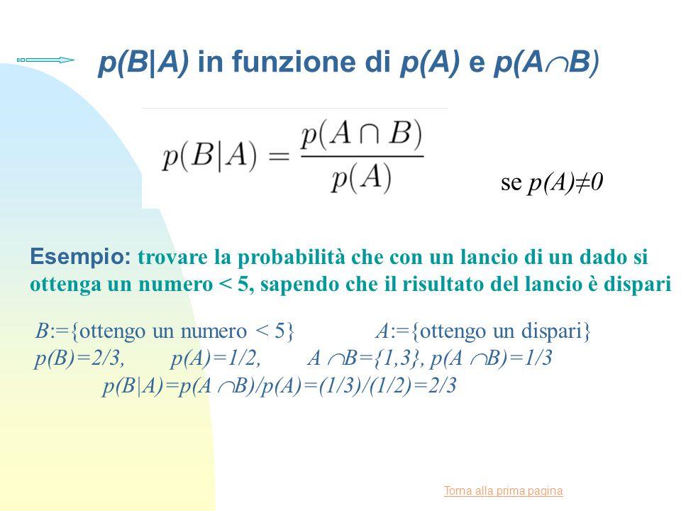 Torna alla prima pagina p(B|A) in funzione di p(A) e p(A  B) se p(A)≠0 Esempio: trovare la probabilità che con un lancio di un dado si ottenga un numero < 5, sapendo che il risultato del lancio è dispari B:={ottengo un numero < 5} A:={ottengo un dispari} p(B)=2/3, p(A)=1/2, A  B={1,3}, p(A  B)=1/3 p(B|A)=p(A  B)/p(A)=(1/3)/(1/2)=2/3