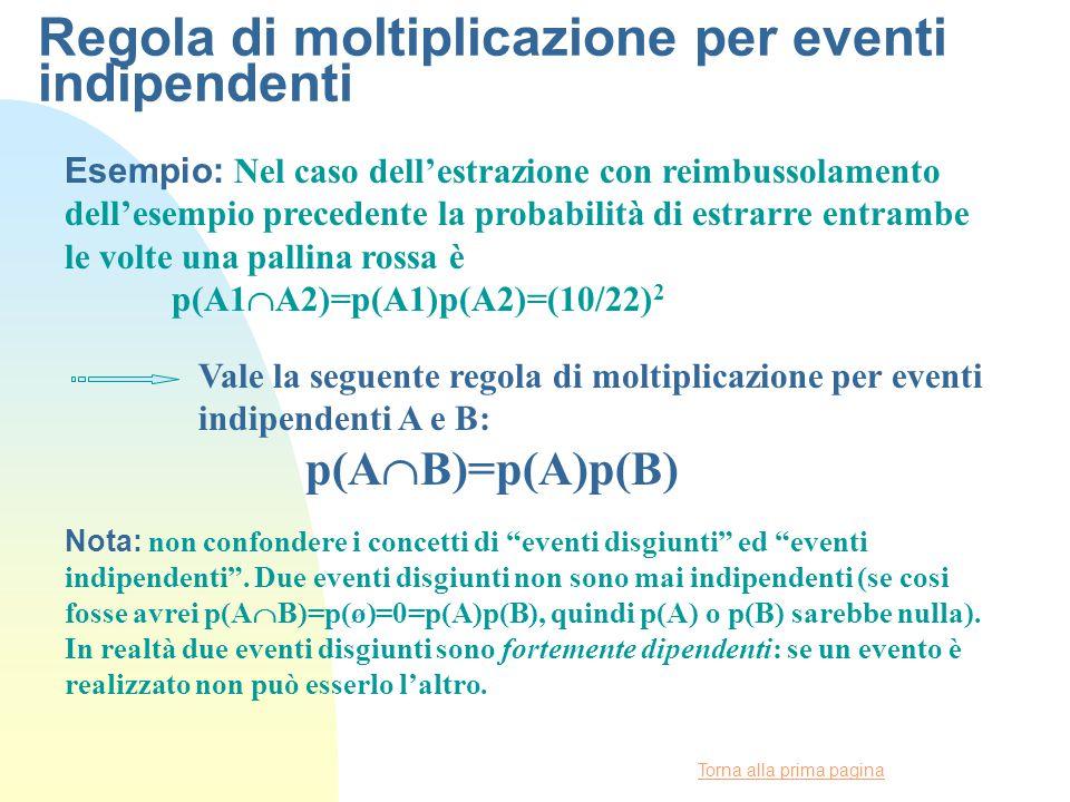 Torna alla prima pagina Regola di moltiplicazione per eventi indipendenti Esempio: Nel caso dell'estrazione con reimbussolamento dell'esempio precedente la probabilità di estrarre entrambe le volte una pallina rossa è p(A1  A2)=p(A1)p(A2)=(10/22) 2 Vale la seguente regola di moltiplicazione per eventi indipendenti A e B: p(A  B)=p(A)p(B) Nota: non confondere i concetti di eventi disgiunti ed eventi indipendenti .